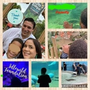 This is a picture collage of a participating family and their foster child created during a visit to ZooTampa